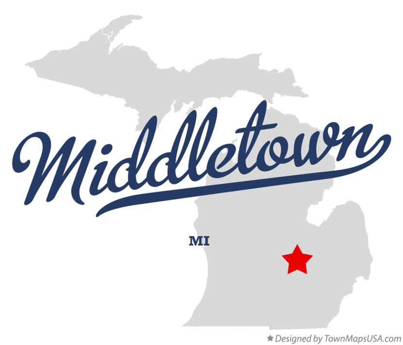 Map of Middletown Michigan MI