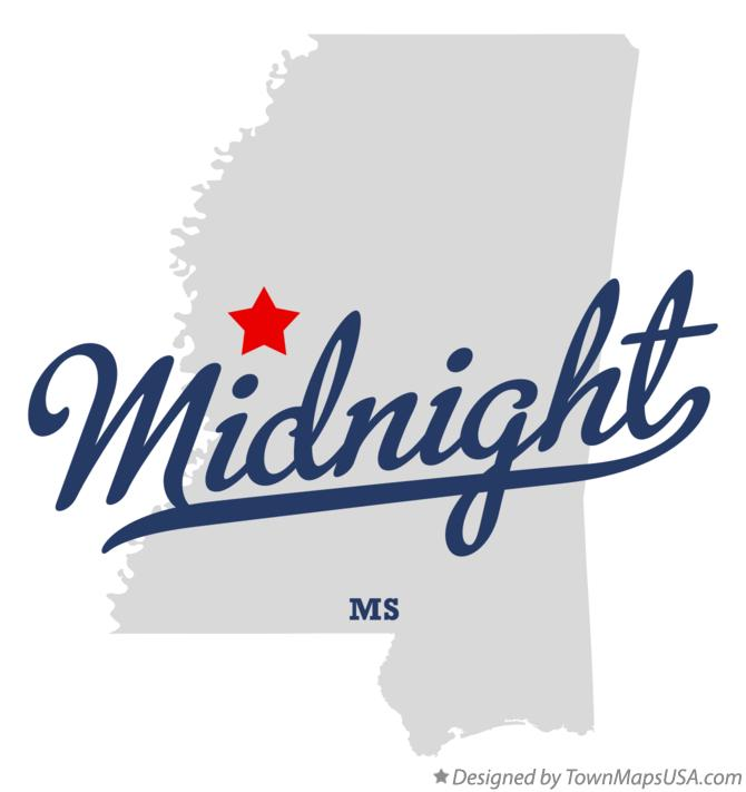 Map of Midnight Mississippi MS