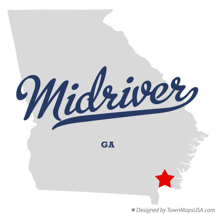 Map of Midriver Georgia GA