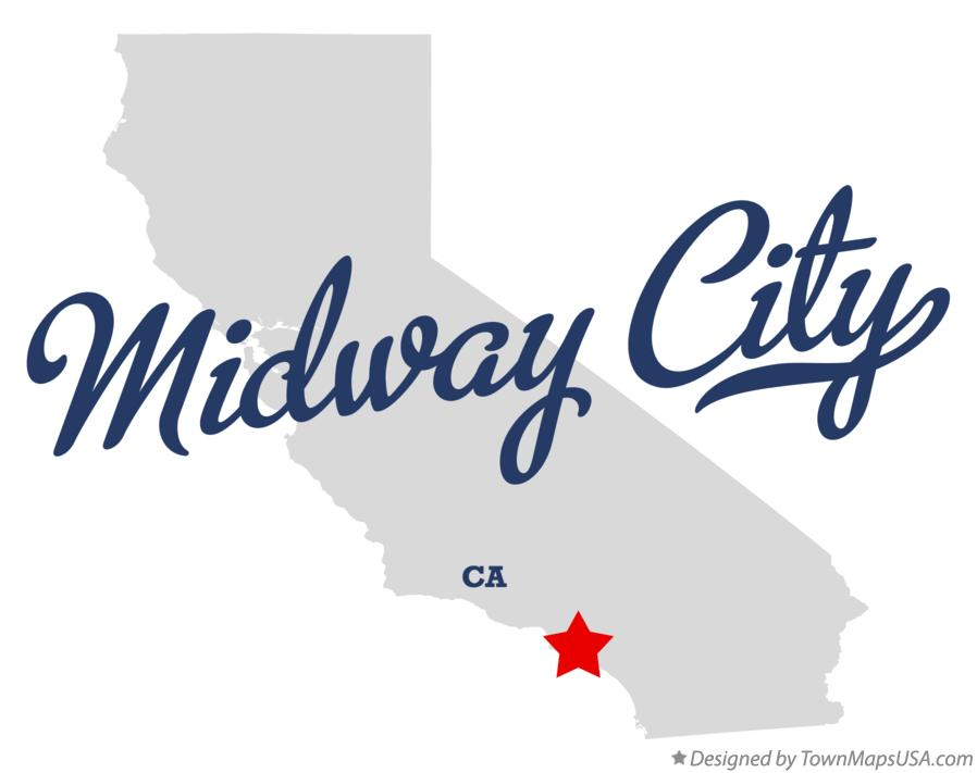Map of Midway City California CA