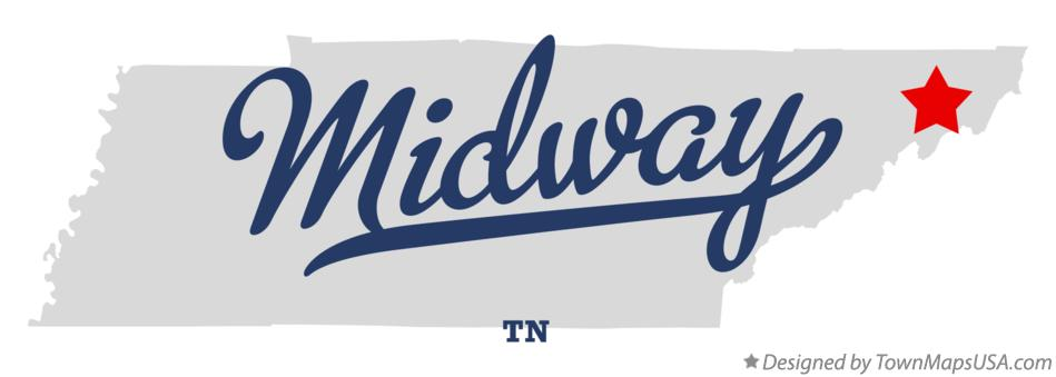 Map of Midway Tennessee TN