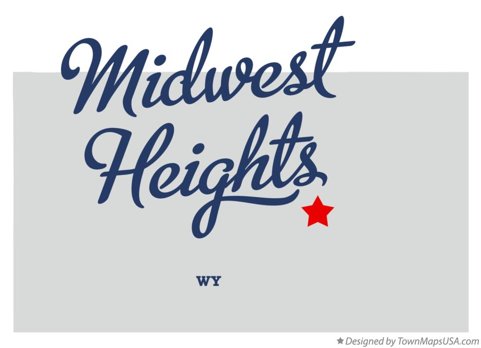 Map of Midwest Heights Wyoming WY