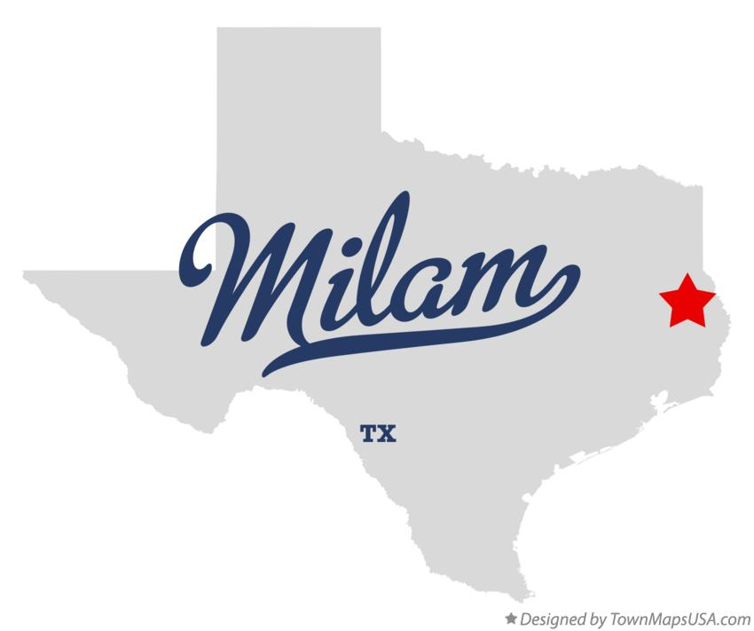 Map of Milam Texas TX