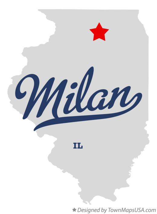 Map of Milan Illinois IL