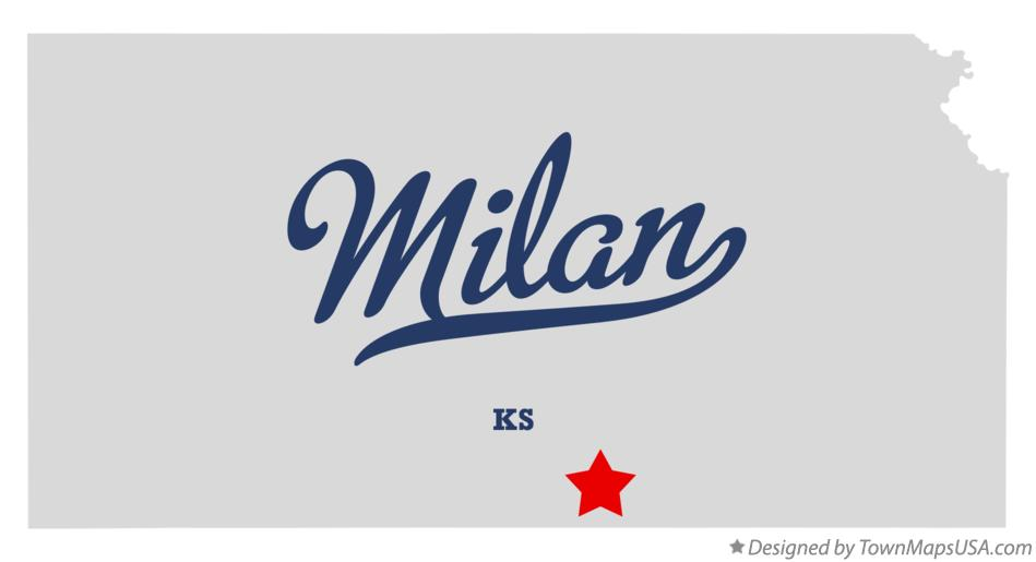 Map of Milan Kansas KS