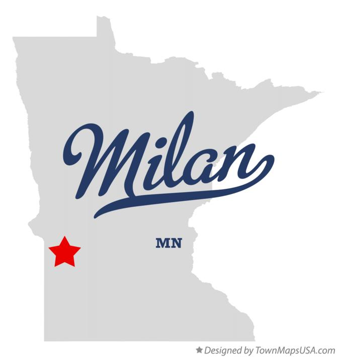 Map of Milan Minnesota MN