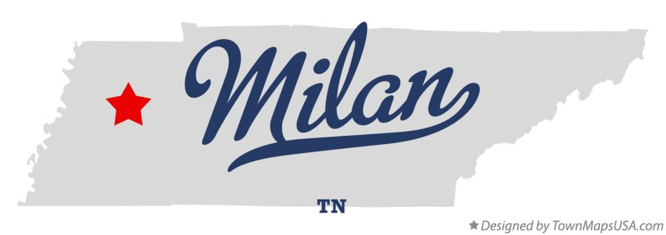 Map of Milan Tennessee TN