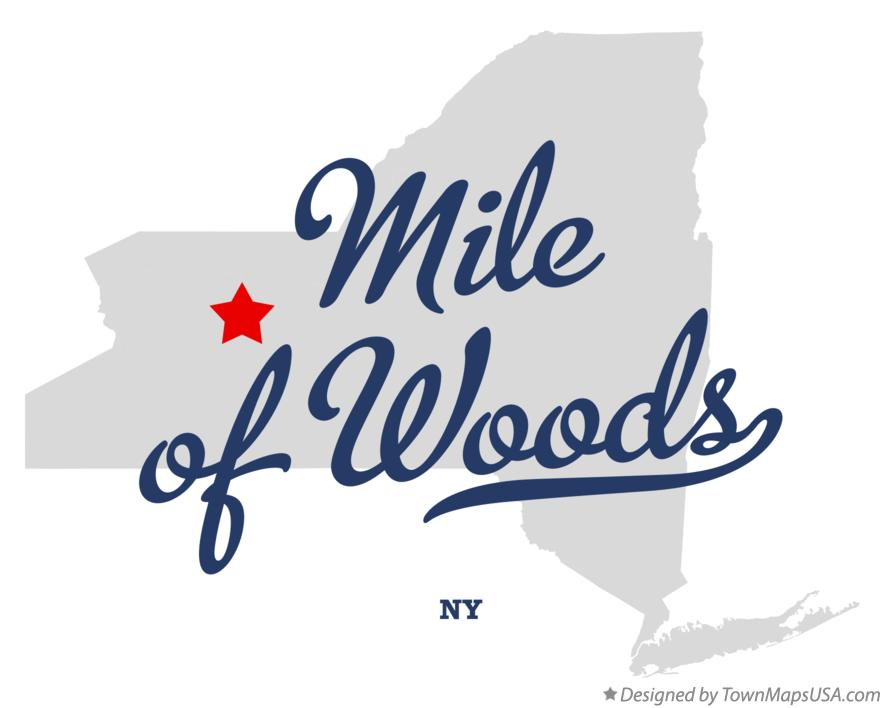 Map of Mile of Woods New York NY