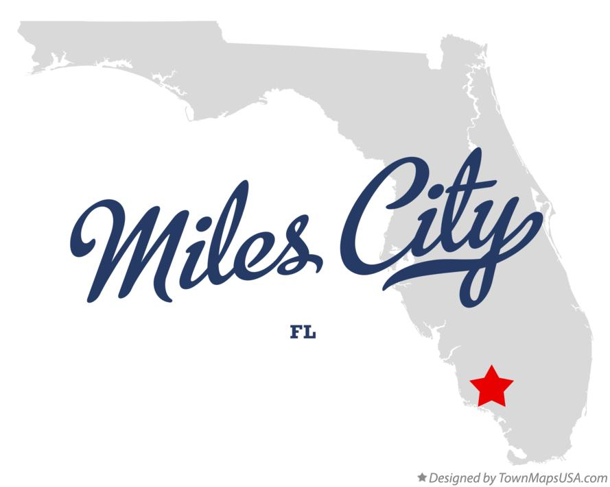 Map of Miles City Florida FL