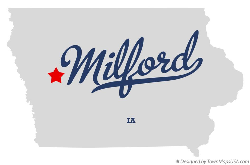 Map of Milford Iowa IA