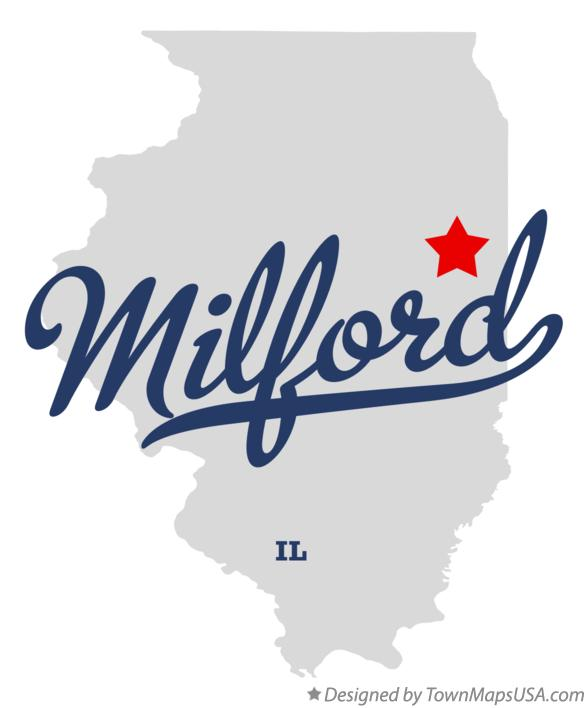 Map of Milford Illinois IL