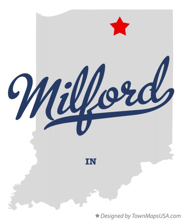 Map of Milford Indiana IN