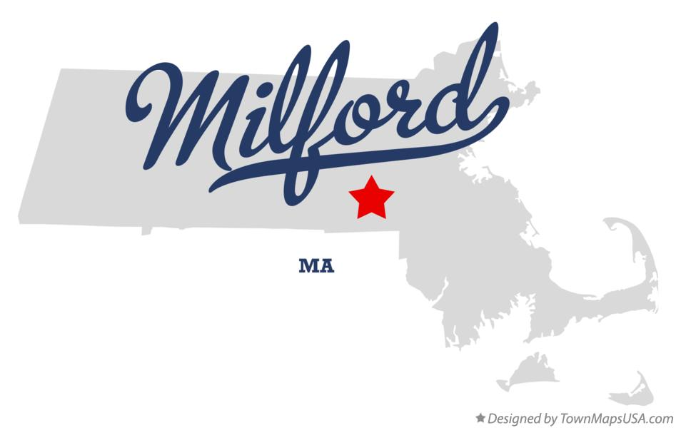 Map of Milford Massachusetts MA