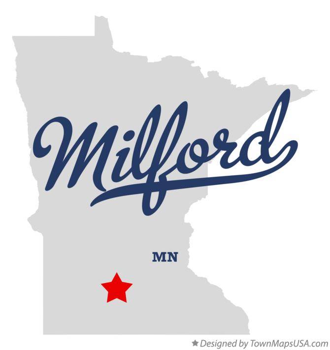 Map of Milford Minnesota MN