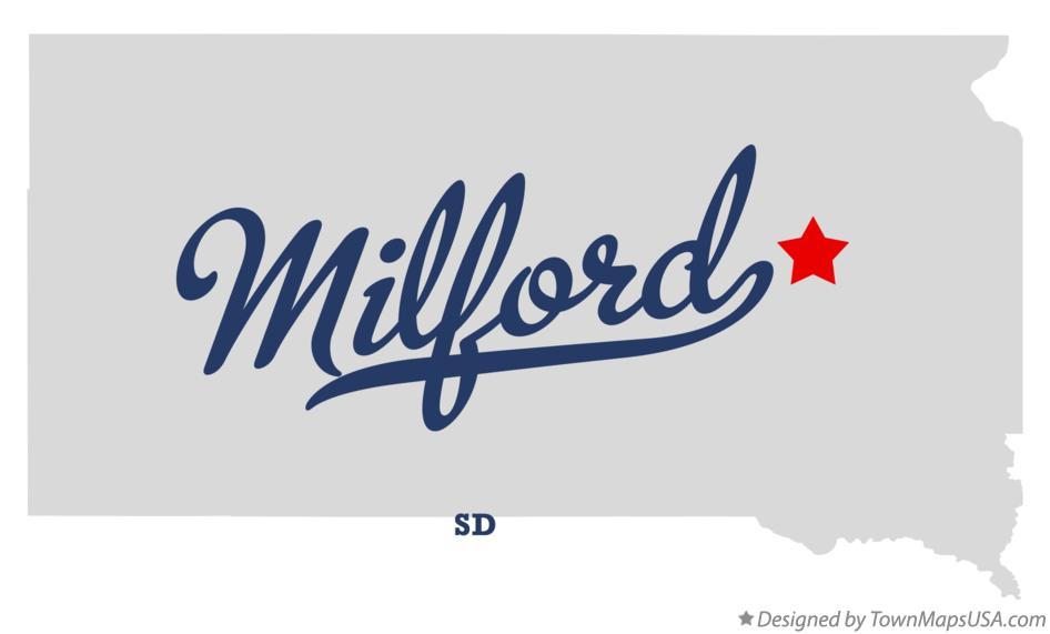 Map of Milford South Dakota SD