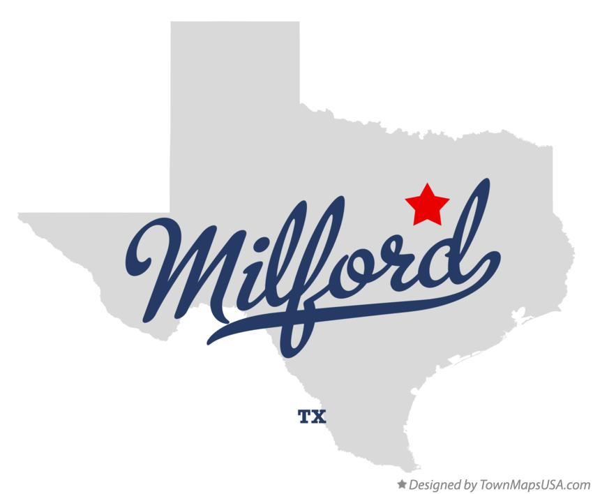 Map of Milford Texas TX