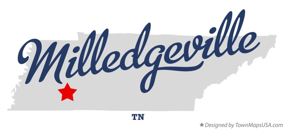 Map of Milledgeville Tennessee TN