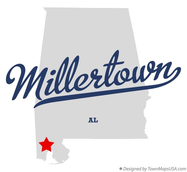 Map of Millertown Alabama AL