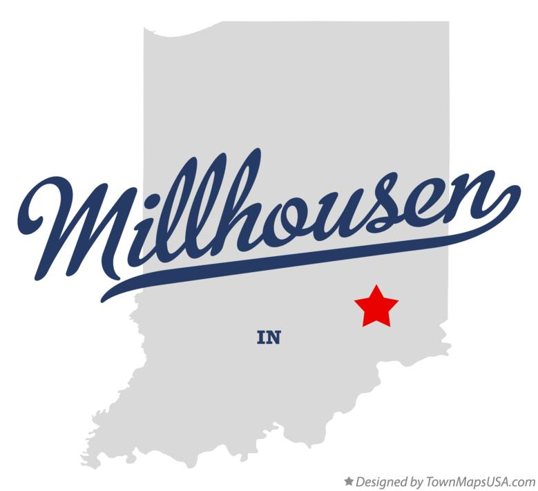 Map of Millhousen Indiana IN