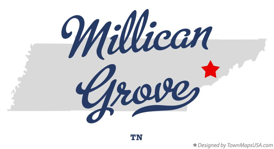 Map of Millican Grove Tennessee TN