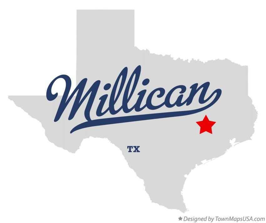 Map of Millican Texas TX