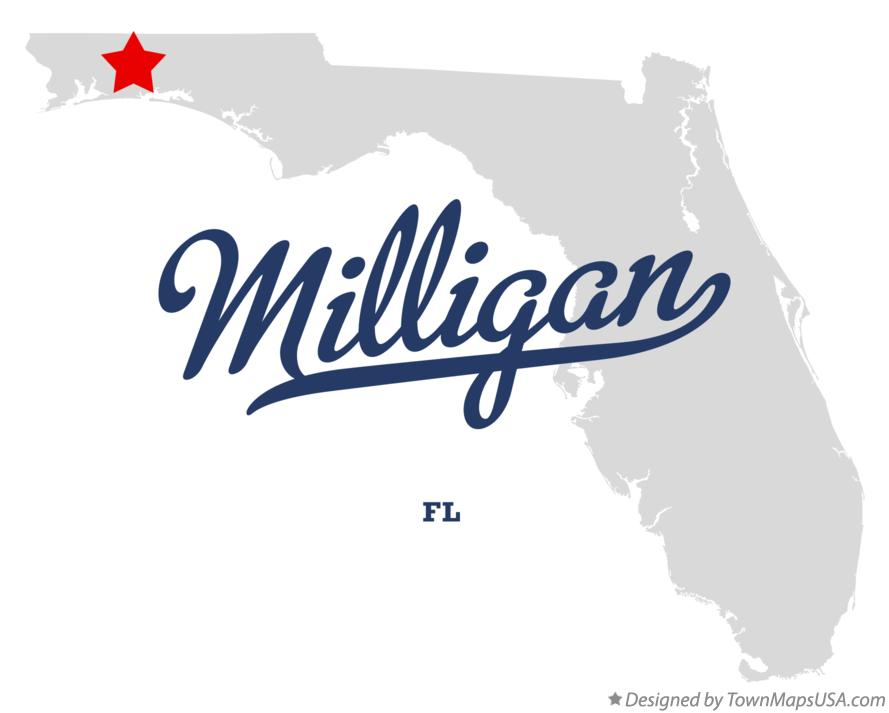 Map of Milligan Florida FL