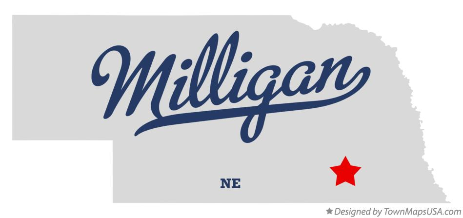 Map of Milligan Nebraska NE