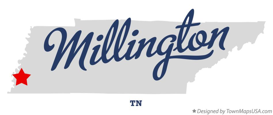 Map of Millington Tennessee TN