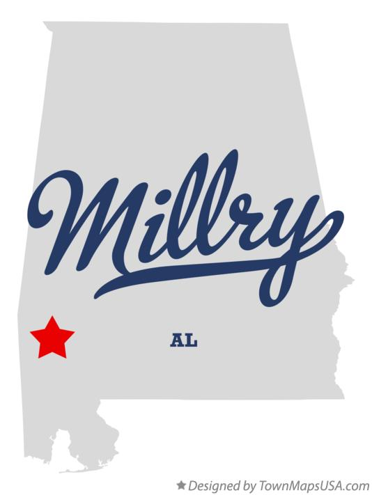 Map of Millry Alabama AL