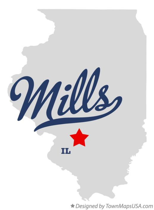 Map of Mills Illinois IL
