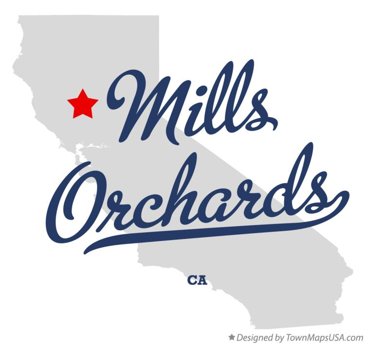 Map of Mills Orchards California CA