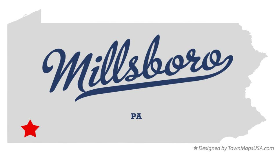 Map of Millsboro Pennsylvania PA