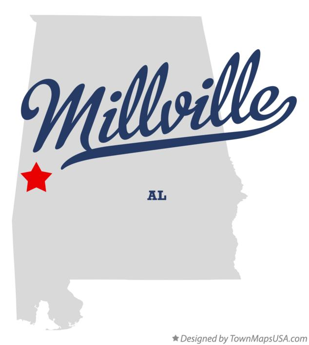 Map of Millville Alabama AL