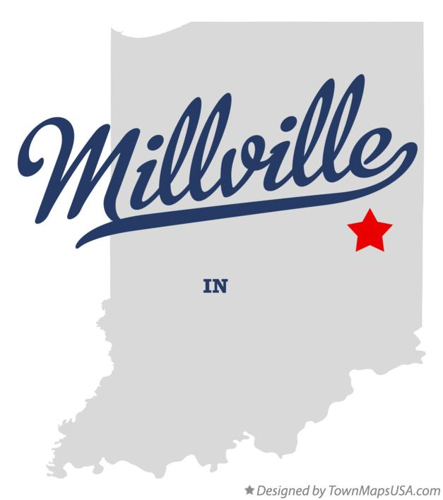 Map of Millville Indiana IN