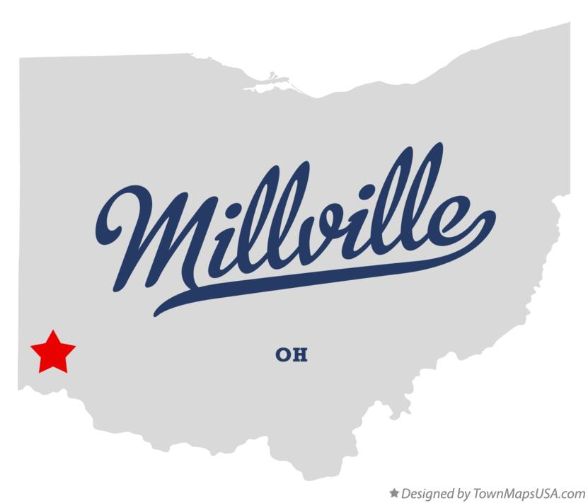 Map of Millville Ohio OH