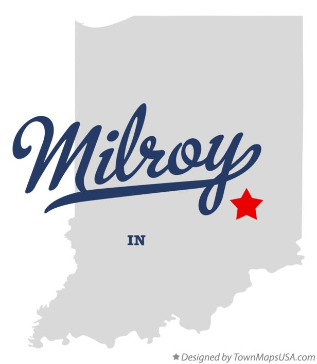 Map of Milroy Indiana IN
