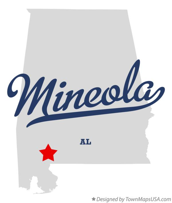 Map of Mineola Alabama AL