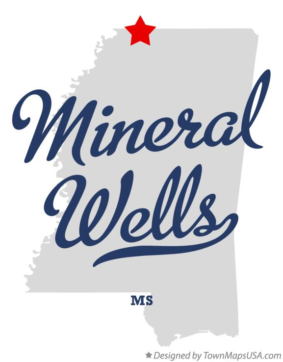 Map of Mineral Wells Mississippi MS