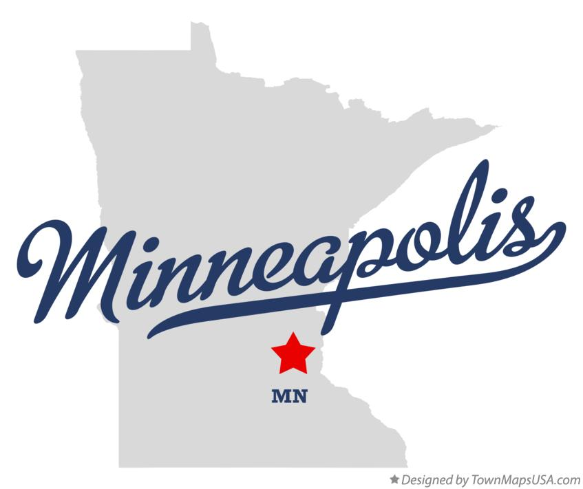 Map of Minneapolis, MN, Minnesota