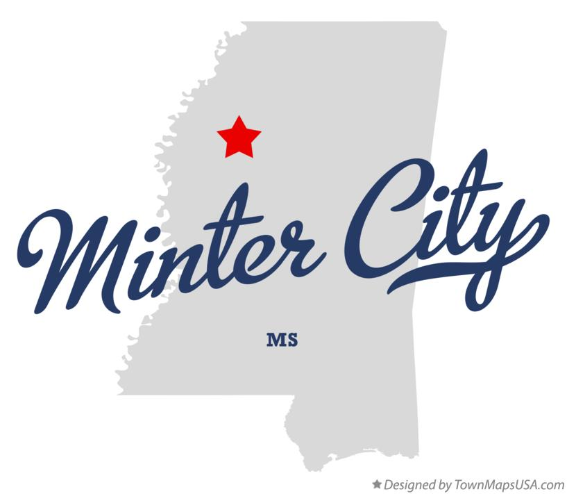 Map of Minter City Mississippi MS