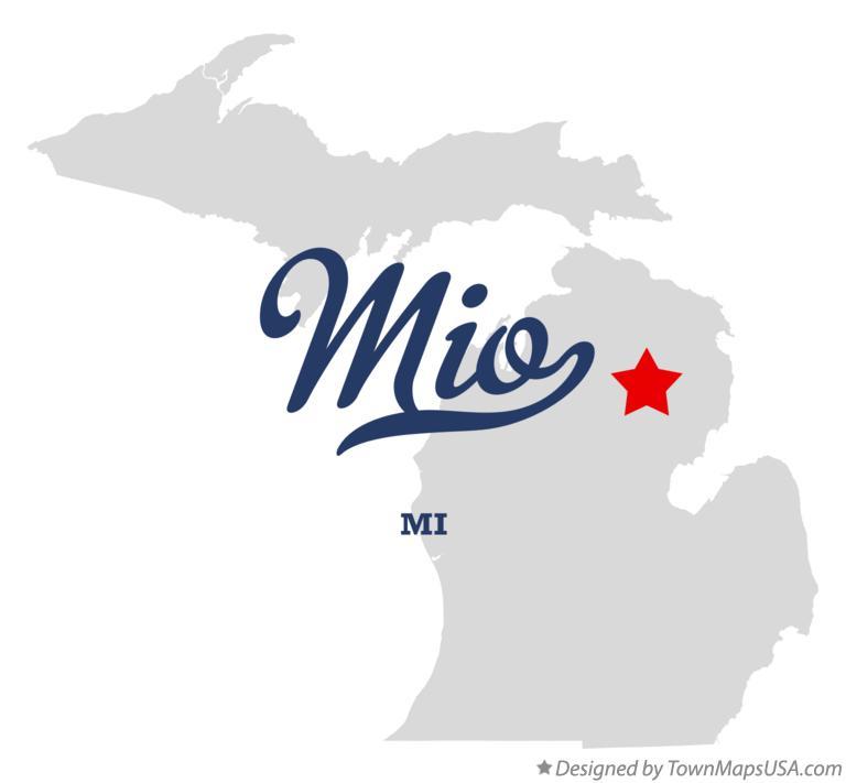 Map of Mio, MI, Michigan