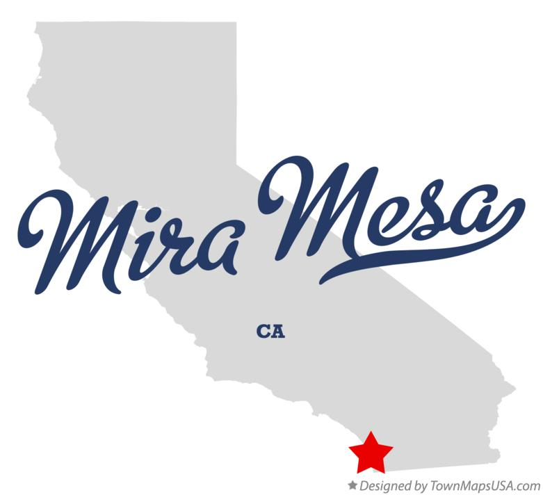 Map of Mira Mesa California CA