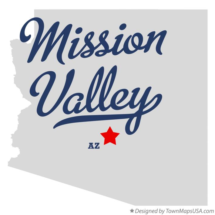 Map of Mission Valley Arizona AZ