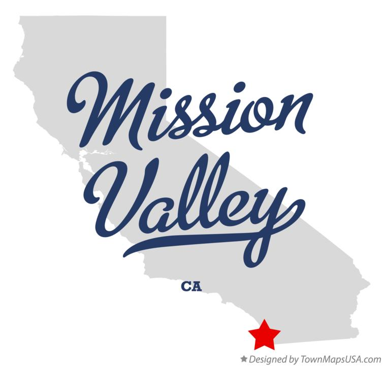 Map of Mission Valley California CA