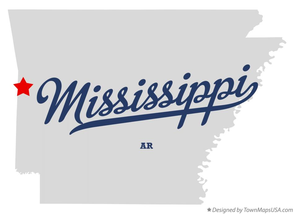 Map of Mississippi Arkansas AR