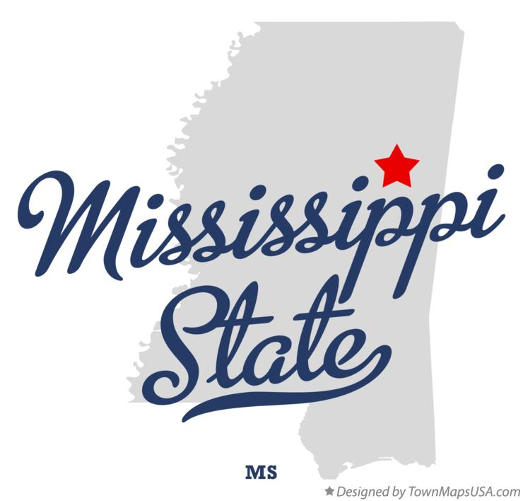 Map of Mississippi State Mississippi MS