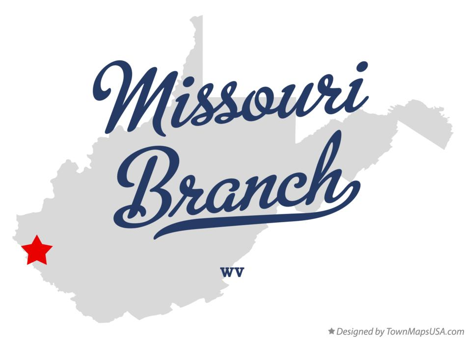 Map of Missouri Branch West Virginia WV