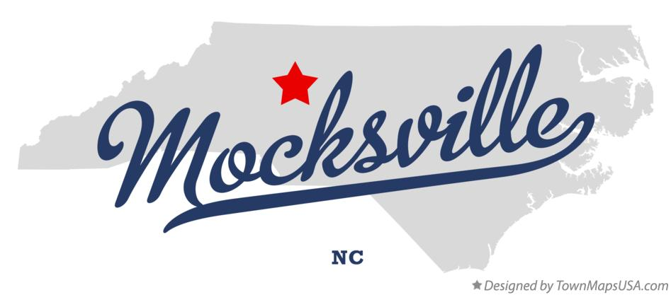 Map of Mocksville North Carolina NC