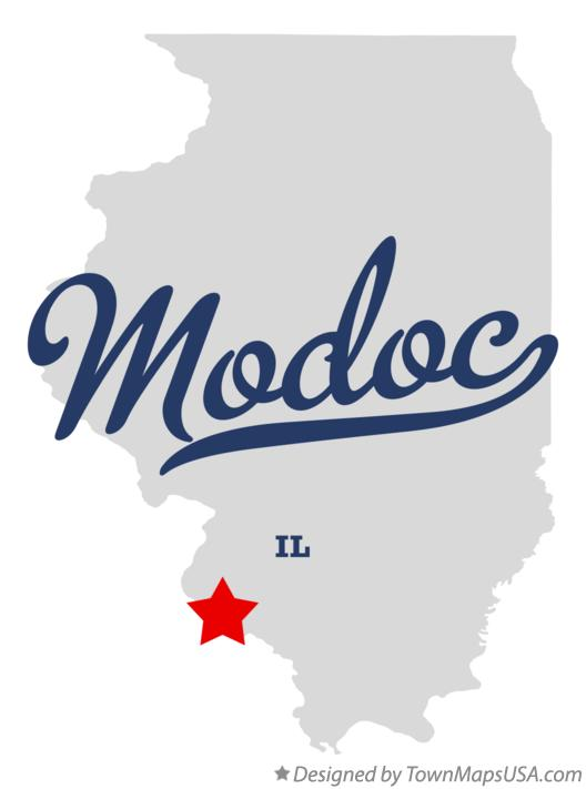 Map of Modoc Illinois IL