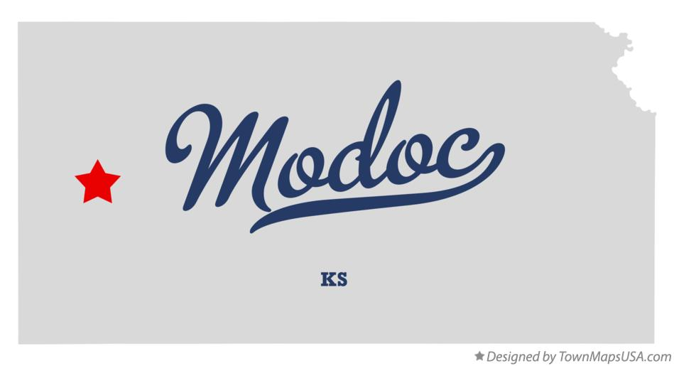 Map of Modoc Kansas KS